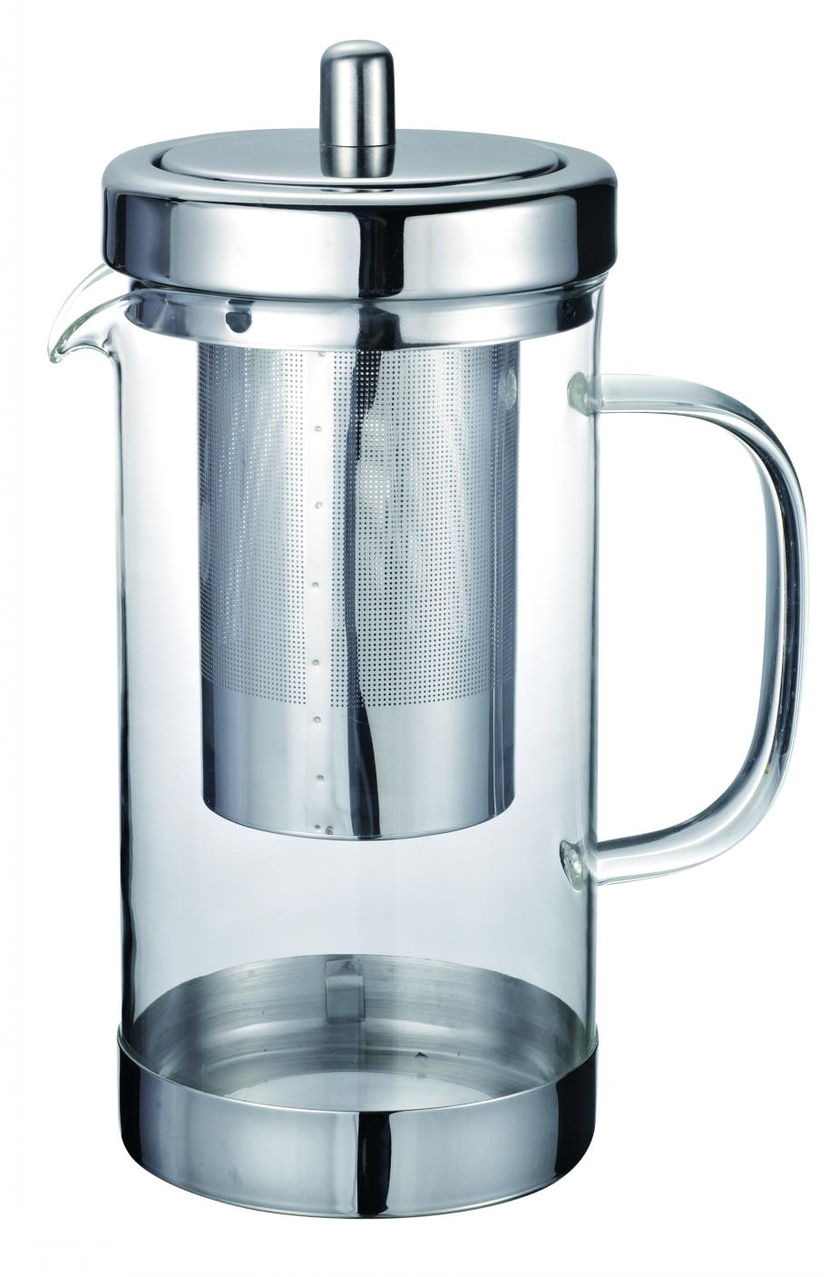 Heat Resistant Glass Tea pot/tea maker with Stainless Steel Holder(infuser/Strainer)