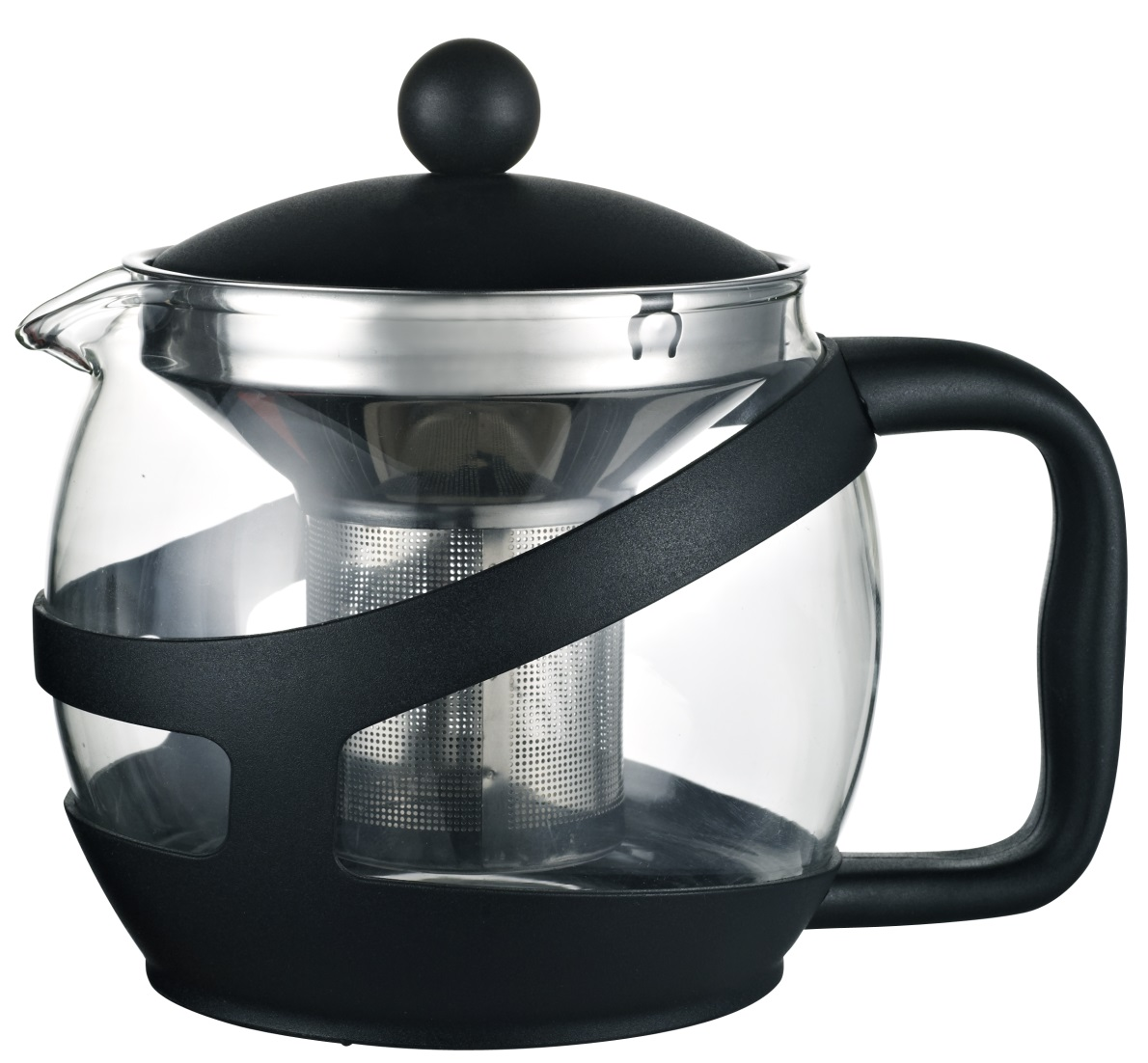 Heat Resistant Glass Tea pot/tea maker with PP Holder(infuser/Strainer)