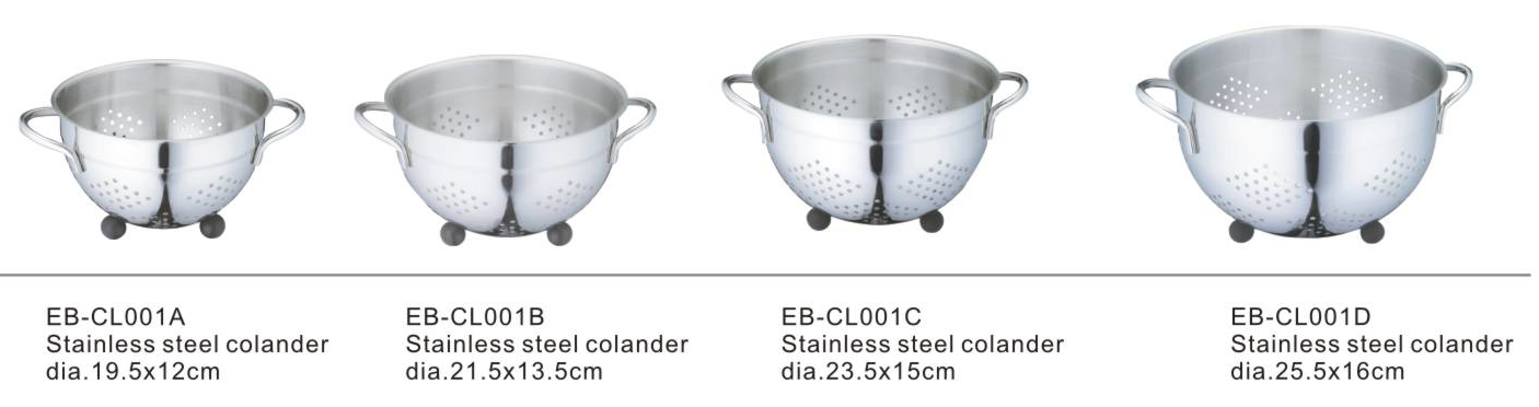 Stainless Steel Colander for Kitchen Food Washing Self-Draining Pasta Bowl Wide Grip Handles