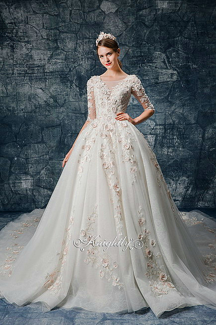3D Pink Floral Applique Lace Long Sleeves Bridal Gown