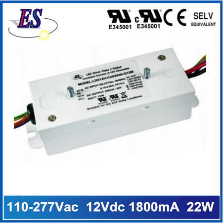 22W Constant Voltage LED Driver with 1-10V Dimmable,Metal case
