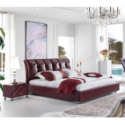 Custom Made Quality Modern PVC PU Leather Cushion Upholstered Bed For Bedroom Furniture