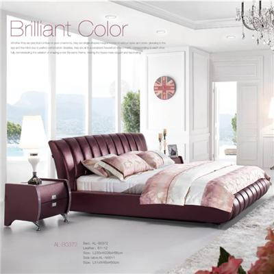 European Style Wine Red Faux Leather Bed Wrapped In High-class Upholstery Customized Sizes & Colors