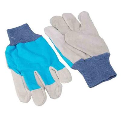 Soft Cotton Chrome Knit Leather For Garden Work Industrial Glove