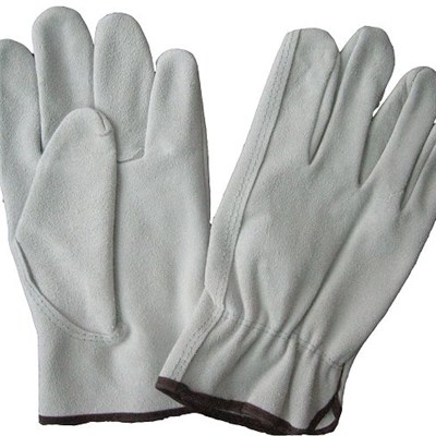 2014 Best Selling High Quality Cow Grain Leather Driver Safety Gloves