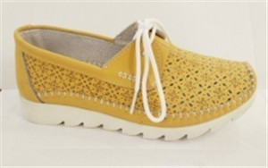 Camel leather shoes upper with flower punching and ornament stitching  (style no.160904,BRAND: CARE)