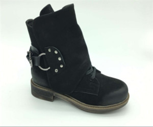 BLACK LEATHER boots UPPER WITH BEATIFUL BUCKLE AS ORNAMENT (CAD100118H, BRAND: CARE)