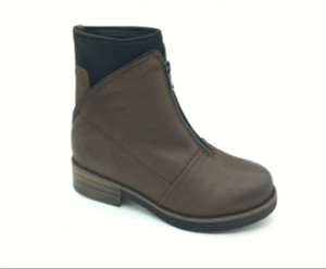 Ladies kakhi leather boots upper with zipper ornament (CAD100118H, BRAND: CARE)