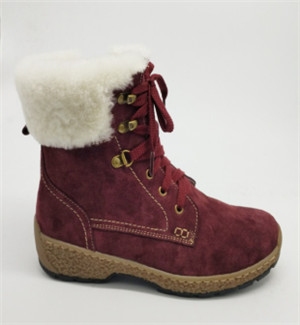 lady red suede leather boots with bronze eyelet and fur lining