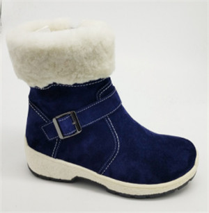 Navy ladies boots with leather upper and buckle ornament