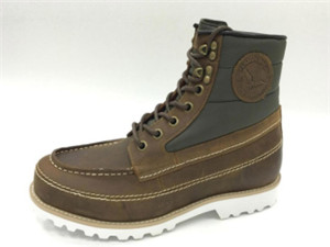 BROWN OIL WAXY LEATHER boots UPPER WITH NYLON AND WHITE TWO LINES STITCHING ORNAMENT (CDH93331, BRAND: CARE)