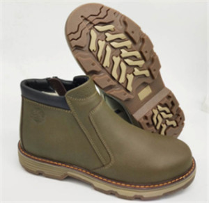 Kakhi action leather boot upper with sole stitched  (CAS66004, BRAND: CARE)