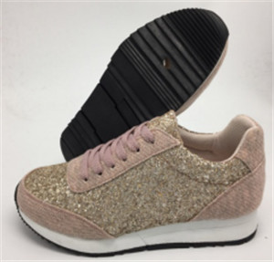 pink textile and  pu shoes with beatiful pearls on upper (CAS60110, BRAND: CARE)