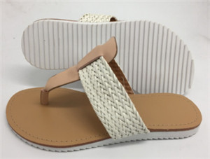 fashion ladies slipper Weave PU upper(Country,brand:CARE)