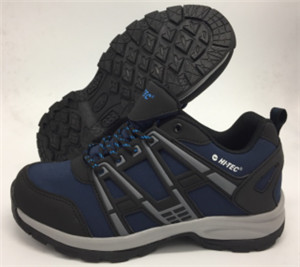 Black/blue pu material outdoor shoes with emboss/printing  rubber patches(CAS63013, BRAND: CARE)