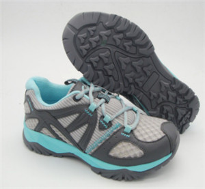 GREY MESH/PU upper trekking shoes with embossed pu stitching(CAR15-237, BRAND:CARE)