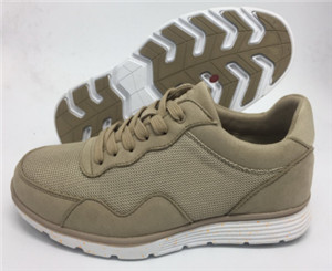 lace-up beige mesh upper men fashionable shoes with white phlon sole(CAS 60505,brand:CARE)