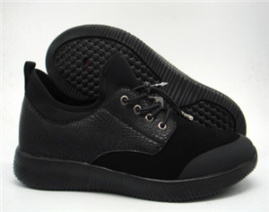 black special pu upper lace-up men  casual sport seamless shoes with black phylon outsole with lace(CAS61139,BRAND:CARE)