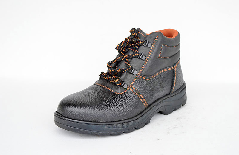 High cut PU material rubber sole work safety shoes
