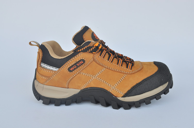 Rubber men safety shoes and nubuck leather safety boots and hiking safety footwear WXRB-022