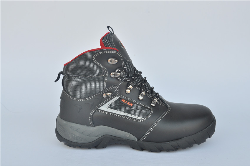 Black Full Grain Leather Safety Shoes With Steel Toe WXRB-034