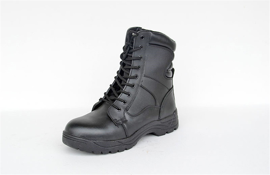 Military boots special ops style black color full grain cow leather nylon fabric army boots