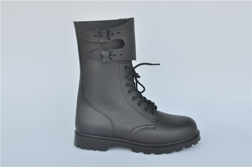 Men Genuine Leather Black Army Boots,Military Combat Boots