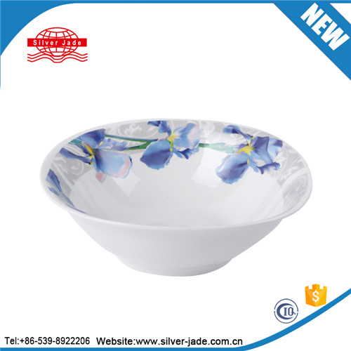 microwave safe ceramic salad bowl with decal design and silver line
