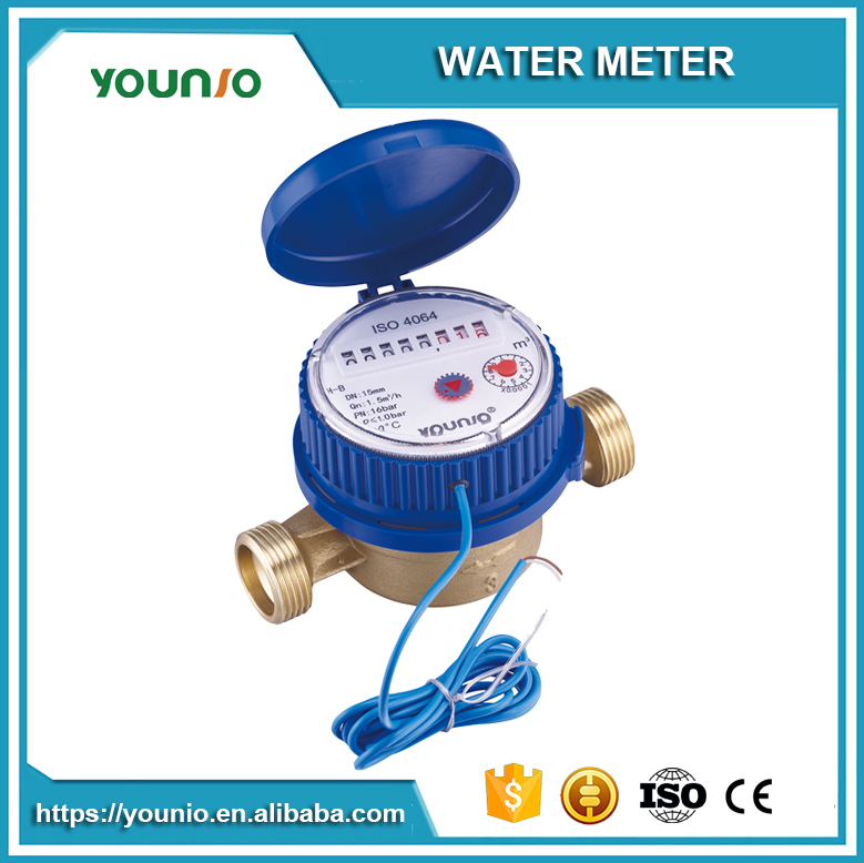 Younio Lowest Price Single Jet Water Meter,Dry Type Pulse Output With Reed Switch