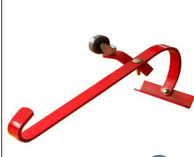 Metal ladder hook with a convenient wheel to roll the ladder along the roof ladder