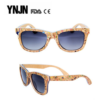 High quality YNJN trendy women mens bamboo wooden sunglasses polarized