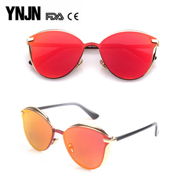 Professional manufacturer YNJN women mirror lens fashionable sunglasses