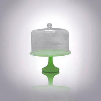 Glass Cake Dome|hand Blown Jadeite Cakestand with Clear Dome for Sale