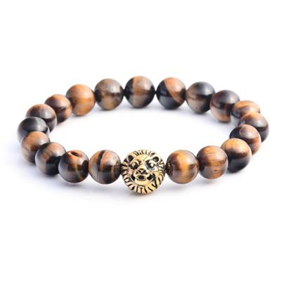 Gold Lion Head Tiger Eye Stone Bracelets For Men