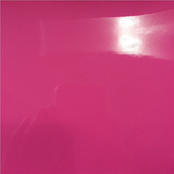 pink pvc shiny leather for bag with knitted fabric from Jiangyin Longsheng