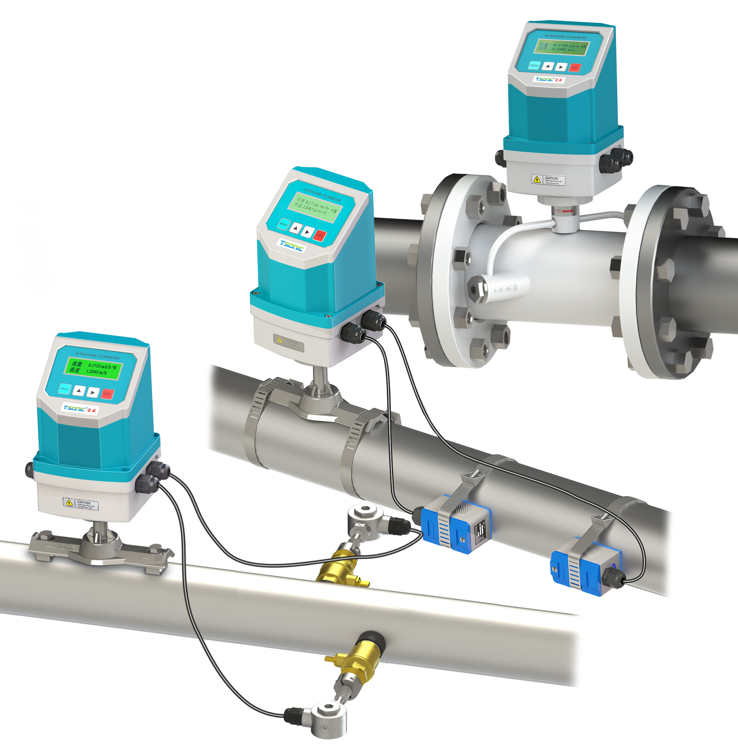 Integrated ultrasonic flow meter