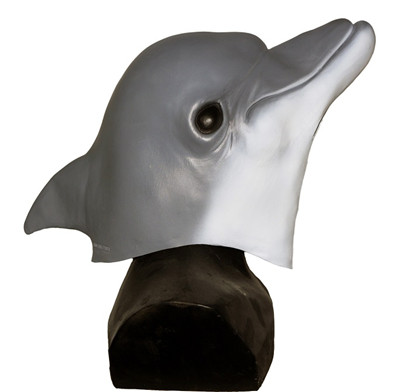 Reaslitic Animal Fancy Dress Costume Latex Dolphin Mask