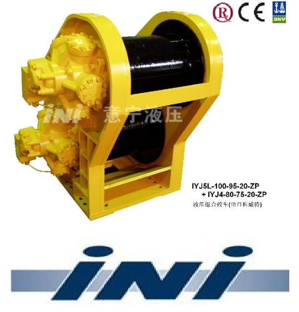 INI hydraulic double drum pipe layer winch waterfall winch