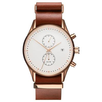 Unique Rose Gold Case Luxury Mens Watches Leather Band 2017