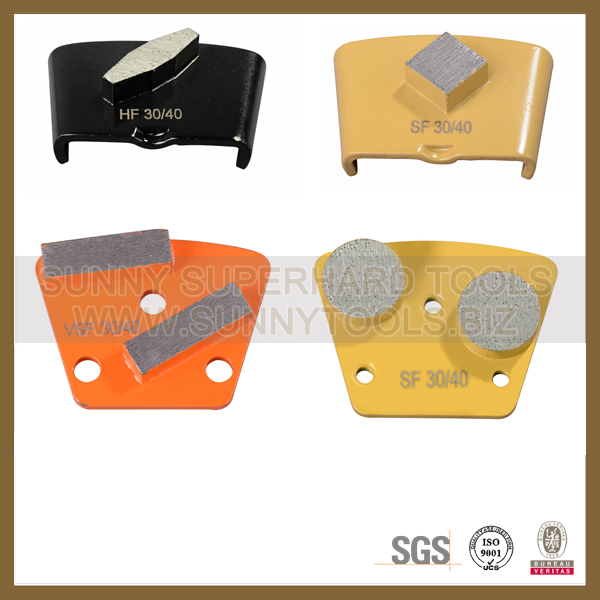 2 bar segment Trapezoid Concrete Terrazzo Floor Grinding pad shoes for concrete floor grinding machine