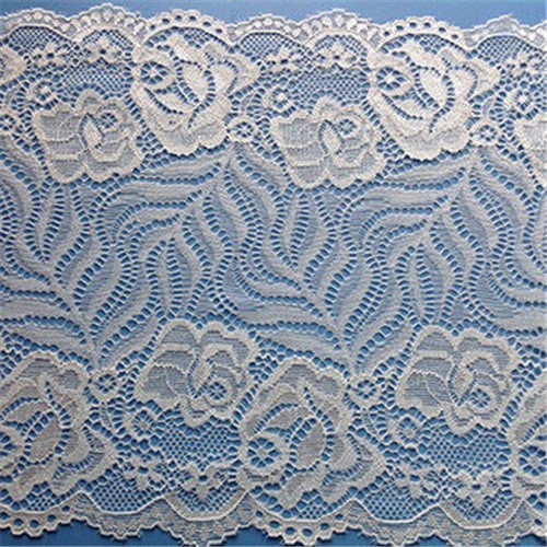 China Hot Sale stretch nylon spandex trim lace, white border bridal lace trim