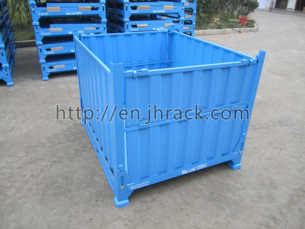 high quality folding steel box pallet stacking container