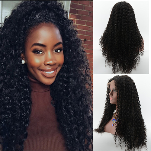 Virgin Human Hair Full Lace Wigs Kinky Culry Style With Baby Hair
