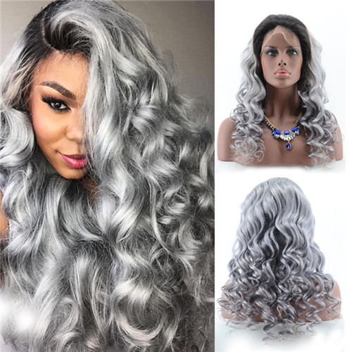 Unprocessed 1BTGrey Ombre Color Body Wave Human Hair Lace Wig With Natural Full Lace In Stock