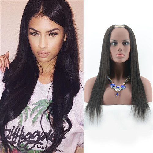 Virgin Human Hair Silky Straight U Part Wig Natural Color Remy Brazilian Hair Wig