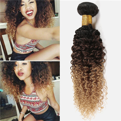Unprocessed Ombre Color Kinky Curly Human Hair Weft 10-30inch Hair Bundles In Stock