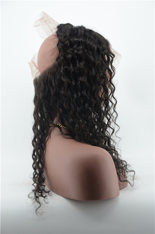 Virgin Human Hair Loose Curly 360 Lace Frontal Natural Color 360 Lace Wig In Stock