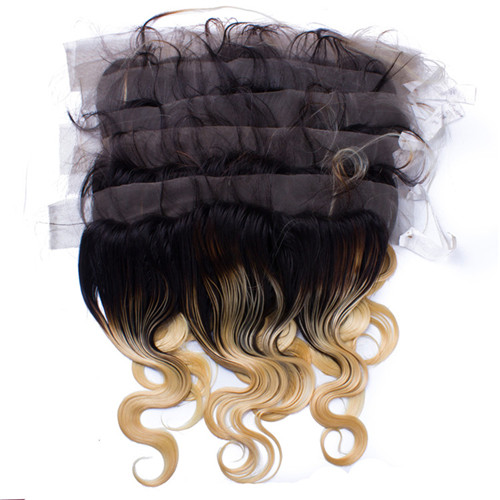 13X4 Size 1BT Blonde Virgin Human Hair Lace Closure And Frontals Natural Body Wave Style With Baby Hair