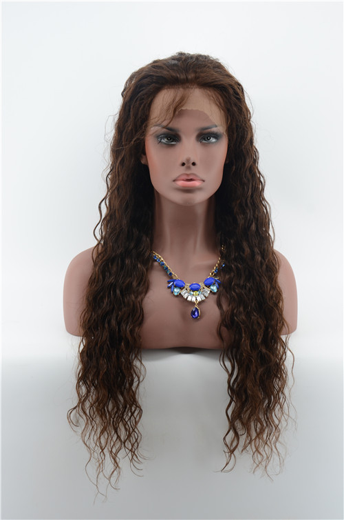 Unprocessed Brown #2 Color Loose Curly Wave Virgin Human Hair Lace Wig For women