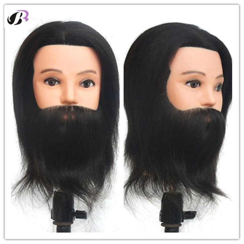 100% Real Human Hair Beard Hairdressing Training Man Head Training Mannequin Head Mannequin Doll Wig Heads Hairdressers With Wig